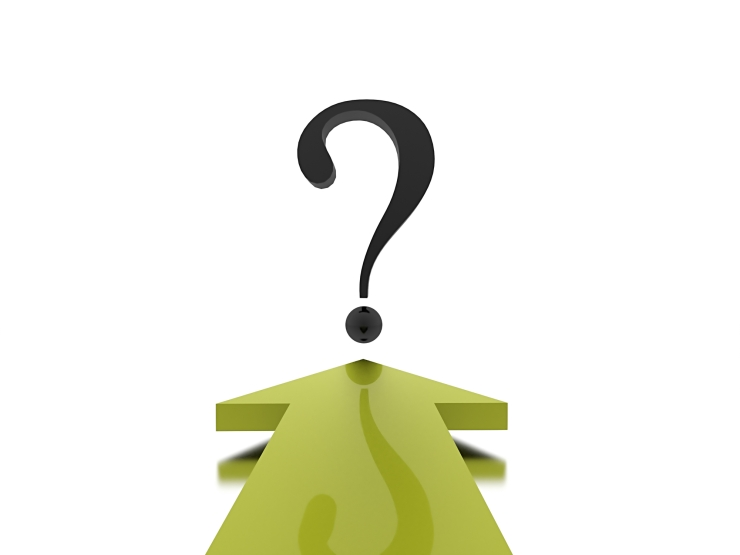 Green arrow with question mark on white background