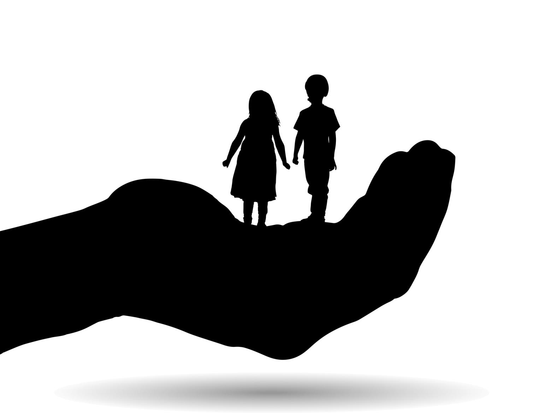 Vector silhouette of a siblings.